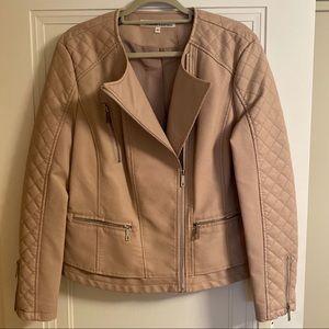 Kenneth Cole Blush Leather Moto Jacket XL NWT